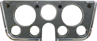 Dash Bezel, 7 Hole w/Factory Gauges, Black/Chrome, 69-72 Blazer, Suburban & Pickup