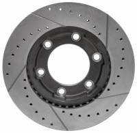 Brakes - Front Brakes - Motown Automotive - Front Performance Brake Rotor, Cross Drilled & Slotted, LH, 4wd, 71-91 Blazer & Suburban, 71-87 K10 Pickup